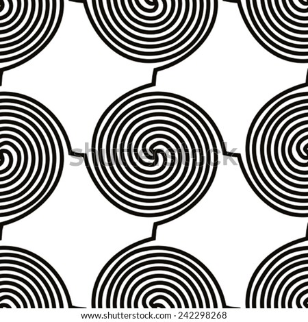 Spiral shapes seamless pattern, black and white vector background. - stock vector