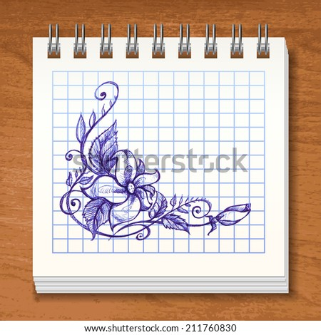 Spiral square lined notebook in vector with sketchy flower - stock vector