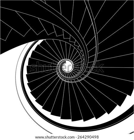 Spiral Staircase Vector 08 - stock vector