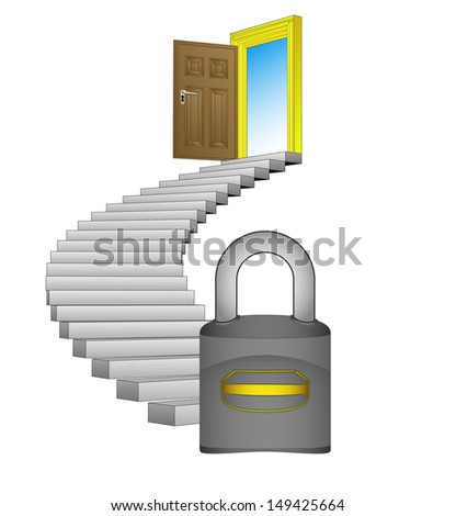 spiral stairway with padlock security concept vector illustration