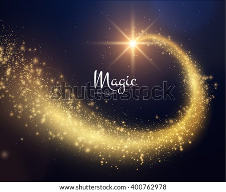 Spiral trail shooting star vector christmas background. Vector eps10. - stock vector