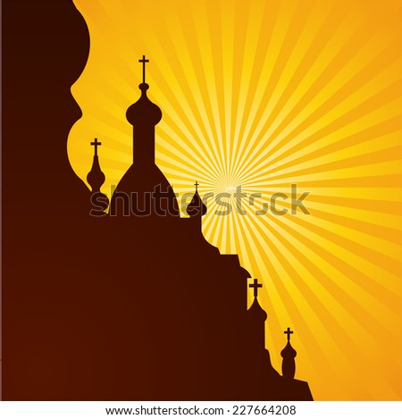 Spires of a church in silhouette on the bright background, vector illustration - stock vector