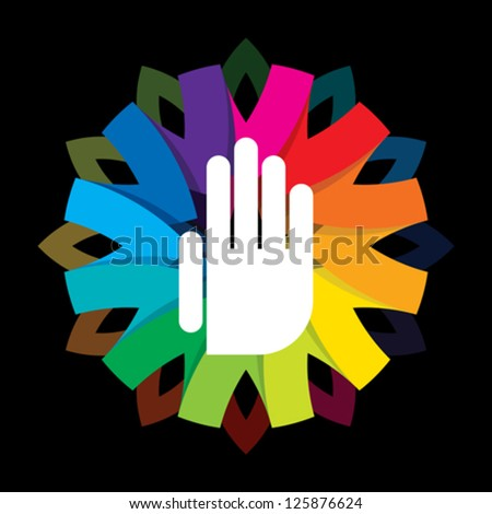spiritual hand on colorful background - stock vector
