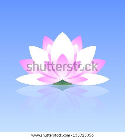 Spiritual lotus flower icon on calm stock vector 133923056 spiritual lotus flower icon on calm water surface with reflection mightylinksfo