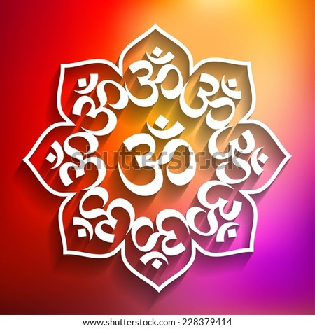Spiritual Lotus Om  Design on Multicolored Background - stock vector