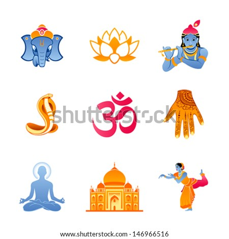 Spiritual Religious Culture Icons India Stock Vector Royalty Free