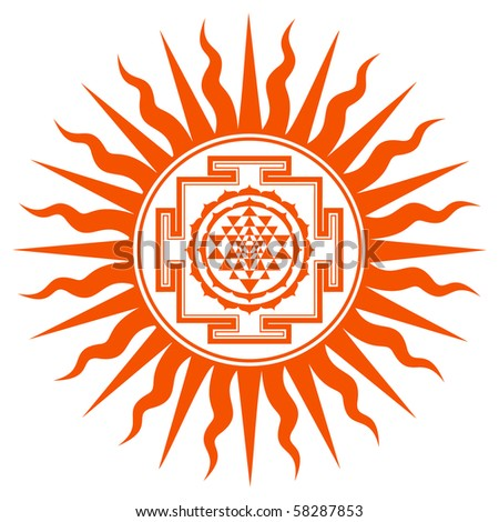 Spiritual Shree Yantra Sign - stock vector