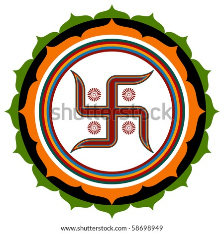 Spiritual Swastika Lotus Design - stock vector