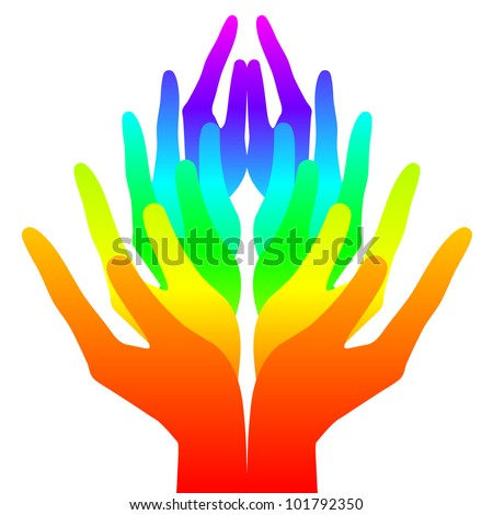 Spirituality, peace and love - colorful icon - stock vector