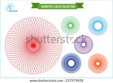 spirograph or geometric circle isolated for money design, voucher, currency, gift certificate, coupon, banknote, diploma, check. - stock vector