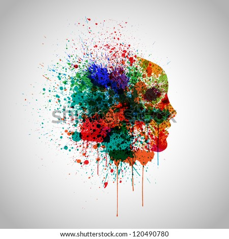 Splash colorful vector with a face silhouette - stock vector