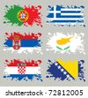 Splash flags set Balkans & Southern Europe. Each in separated layer, easy to use, without gradients and transparencies. - stock vector