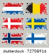 Splash flags set Benelux & Scandinavia. Each in separated layer, easy to use, without gradients and transparencies. - stock photo