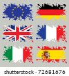 Splash flags set Europe. Each in separated layer, easy to use, without gradients and transparencies. - stock photo