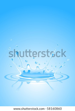 splash in blue clean water - stock vector