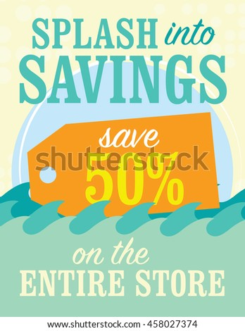 Splash into savings up to 50% off sale sign - stock vector