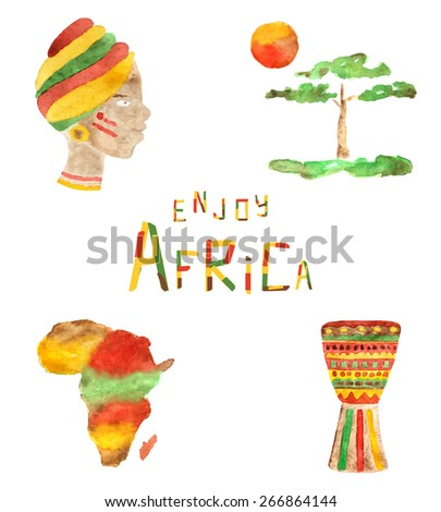 Splash of colors in watercolor african icons, woman, tree, sun, continent, drum and funny font - stock vector