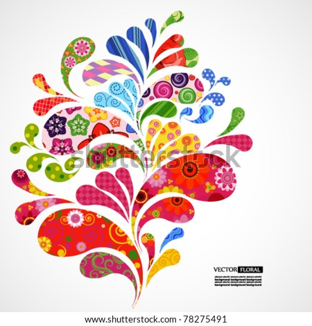 Splash of floral and ornamental drops background. - stock vector