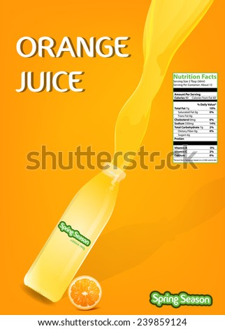 Splash Orange Juice with Bottle Vector 3 - stock vector