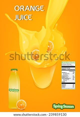Splash Orange Juice with Bottle Vector - stock vector