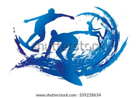 splash surfer - stock vector
