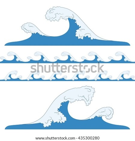 Splashes of sea waves. Tsunami, seamless blue waves. - stock vector