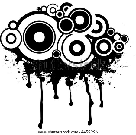 Splat black and white design with a circular gothic background - stock vector