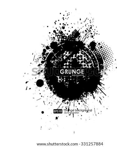 Splatter Background. Black Ink Splats. Spray Paint Splatters. Vector Paint Splats. Blots and Splashes. Grunge Ink Stains. Distress Vector Stains for Grunge Effects. Ink Splats for Design Use. - stock vector