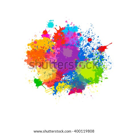 splatter color background and design. vector - stock vector