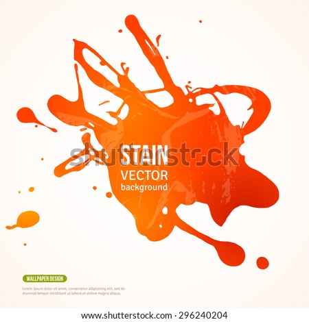 Splatter Paint Banner. Vector Illustration. Orange Painted Background with Acrylic Paint Splash. Ink Spot isolated on white. Abstract Banner Paints. Background for card, poster, identity design - stock vector