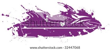 Splatter Paint Big Jet Ski - stock vector