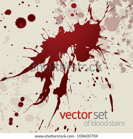 Splattered blood stains, set 19 - stock vector