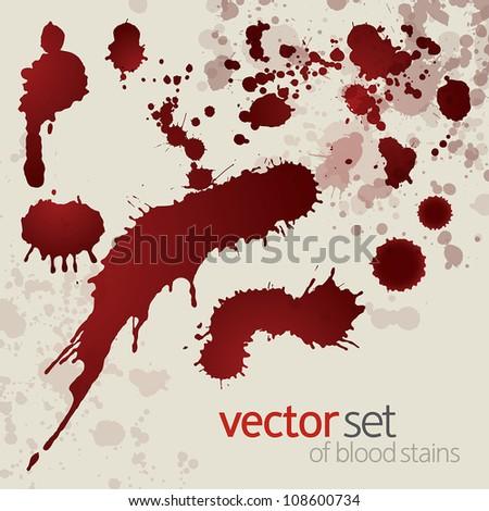 Splattered blood stains, set 8 - stock vector