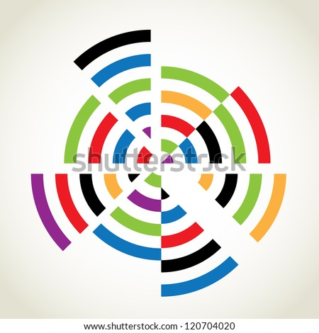 Split rings with many colours, abstract illustration - stock vector