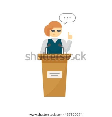Spokeswoman on podium vector isolated on white background, flat cartoon woman speaker person on tribune, business orator speaking, talking, concept of conference, lecturer, leader, politician debate - stock vector