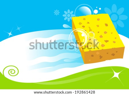 sponge cleaning surface. vector illustration for cleaning services concept - stock vector