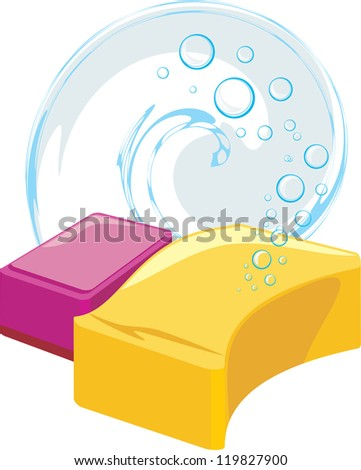 stock-vector-sponges-with-soapy-bubbles-