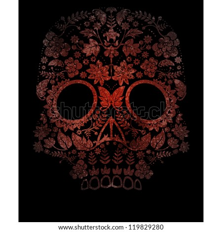 spooky day of the dead skull background - stock vector