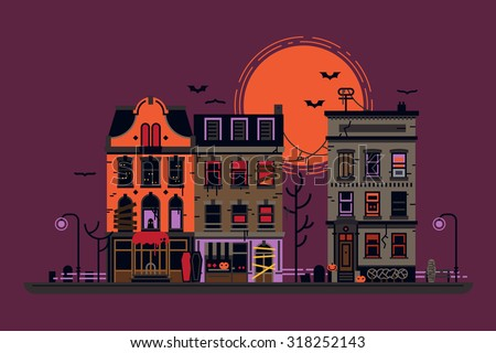 Spooky evil town vector background | Halloween illustration with haunted street townhouses at night. Ideal for greeting cards, posters and banners | Nightmare cartoon city landscape