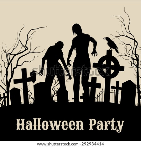 Spooky graveyard on Halloween Night, retro poster for Halloween Party in sepia with zombie - stock vector