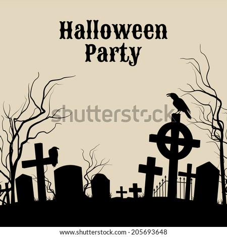 Spooky graveyard on the Halloween Night, retro poster for Halloween Party in sepia  - stock vector