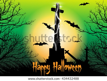 Spooky graveyard scene with cross,thunderbolt and bats flying in the moonlight. Design concept for Halloween background. - stock vector