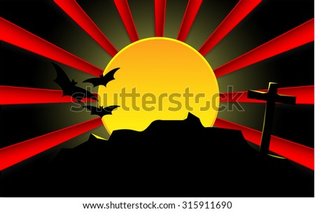 Spooky Halloween cemetery with graveyard and moon. Red moon rays. - stock vector