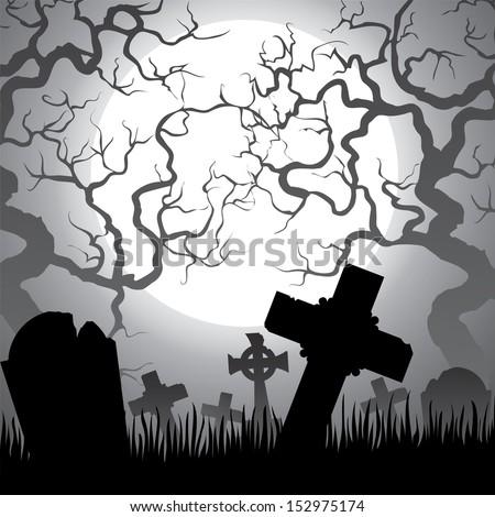 Spooky Halloween cemetery with graveyard, trees, fog and moon - stock vector