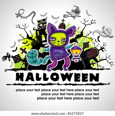 Spooky Halloween composition 2 - stock vector