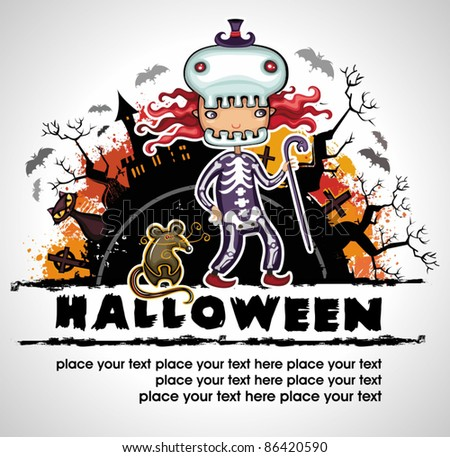 Spooky Halloween composition 3 - stock vector