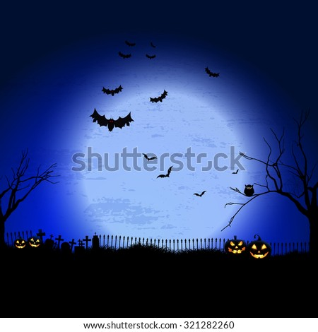 Spooky Halloween landscape with graveyard and bats - stock vector