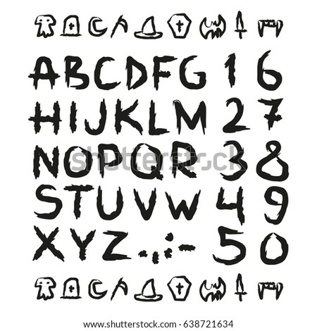 Expressive Outline Letters Numbers