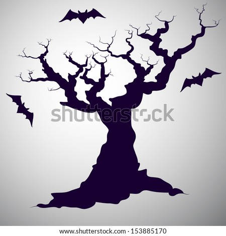 Spooky hand drawn tree silhouette with cartoon bats. - stock vector