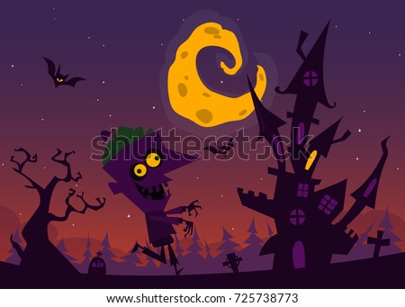 Spooky Old Haunted House With Ghosts Halloween Cartoon Background Vector Illustration